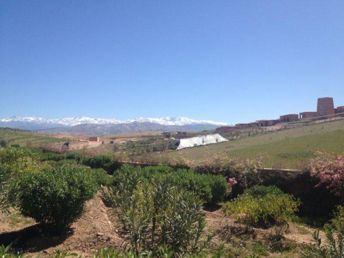 Jarjeer入り口付近からの景色、雪化粧したアトラス山脈